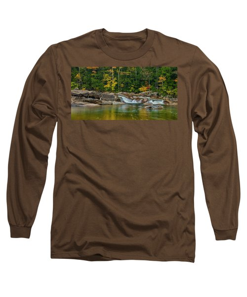 Fall Foliage In Autumn Along Swift River In New Hampshire Long Sleeve T-Shirt by Ranjay Mitra