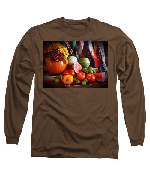 Long Sleeve T-Shirt featuring the painting Fall Harvest Still Life by Marilyn Smith