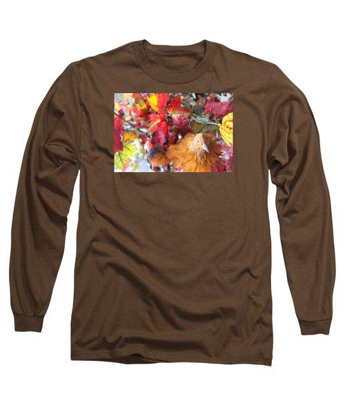 Fall Leaves W/bird Long Sleeve T-Shirt