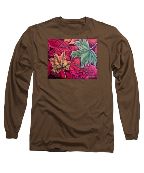 Falling Leaves Two Painting Long Sleeve T-Shirt by Kimberlee Baxter