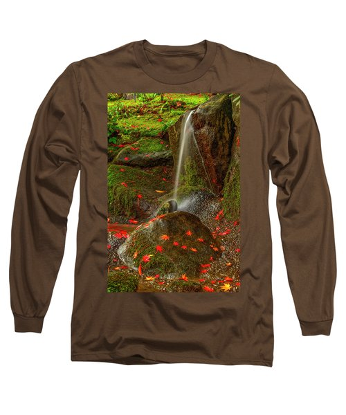 Falls In Seattle Japanese Garden Long Sleeve T-Shirt
