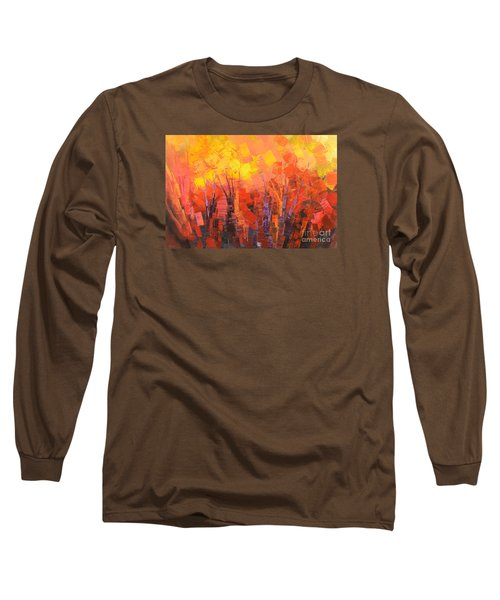 Long Sleeve T-Shirt featuring the painting Fantastic Fire by Tatiana Iliina