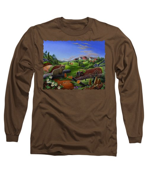 Farm Folk Art - Groundhog Spring Appalachia Landscape - Rural Country Americana - Woodchuck Long Sleeve T-Shirt by Walt Curlee