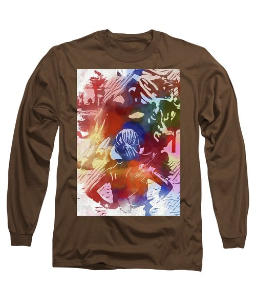 Long Sleeve T-Shirt featuring the mixed media Fearless Girl Wall Street by Dan Sproul