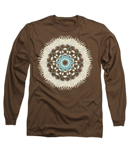 Feathers And Catkins Kaleidoscope Design Long Sleeve T-Shirt by Mary Machare