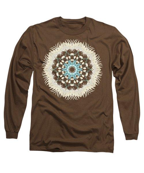 Feathers And Catkins Kaleidoscope Design Long Sleeve T-Shirt