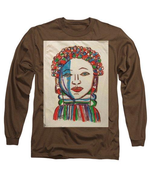 Long Sleeve T-Shirt featuring the painting Bondo Mask T Shirt - Sierra Leone by Mudiama Kammoh