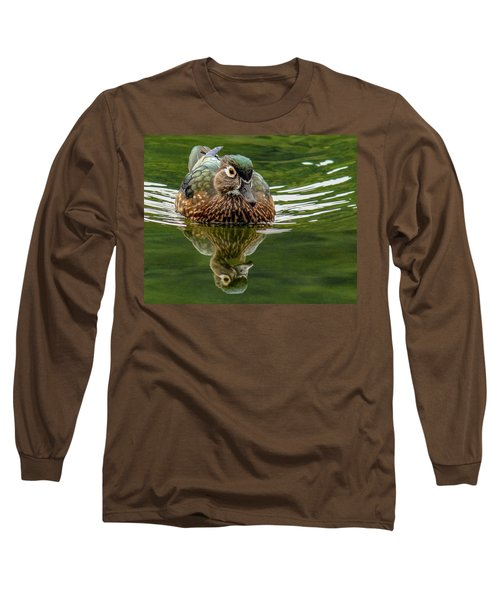 Long Sleeve T-Shirt featuring the photograph Female Wood Duck by Jean Noren