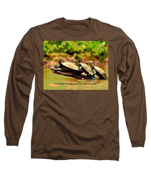 Long Sleeve T-Shirt featuring the mixed media Fertile Turtle by Charles Shoup
