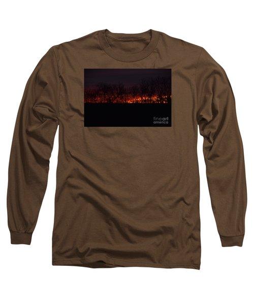 Long Sleeve T-Shirt featuring the photograph Fiery Kansas Sky by Mark McReynolds