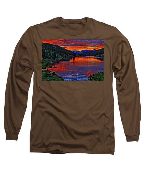 Long Sleeve T-Shirt featuring the photograph Fiery Lake by Scott Mahon