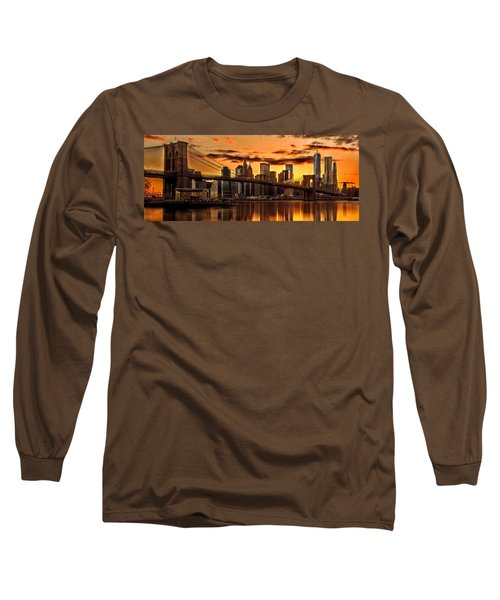 Fiery Sunset Over Manhattan  Long Sleeve T-Shirt by Az Jackson