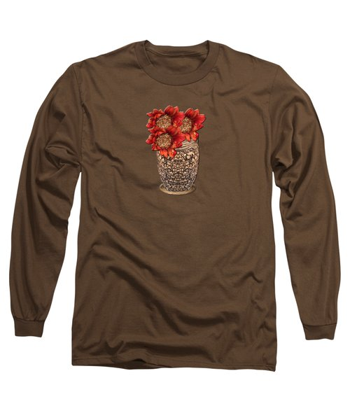 Fire Brick Flora Vase Long Sleeve T-Shirt