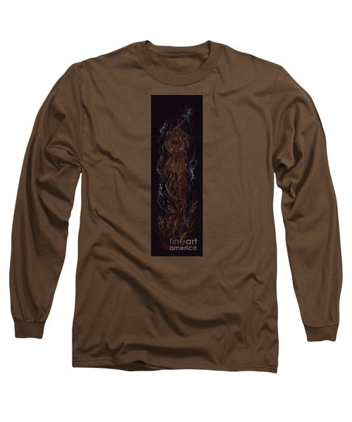 Long Sleeve T-Shirt featuring the drawing Fire by Dawn Fairies