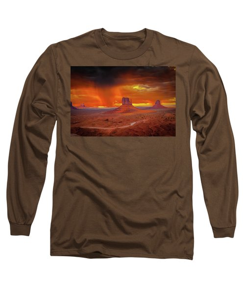 Firestorm Over The Valley Long Sleeve T-Shirt by Mark Dunton
