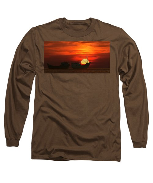 Fishing Boats In Sea Long Sleeve T-Shirt