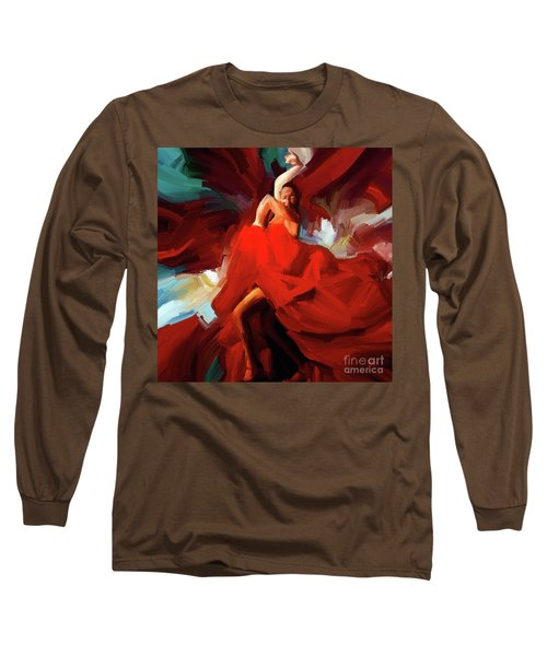 Long Sleeve T-Shirt featuring the painting Flamenco Dance 7750 by Gull G