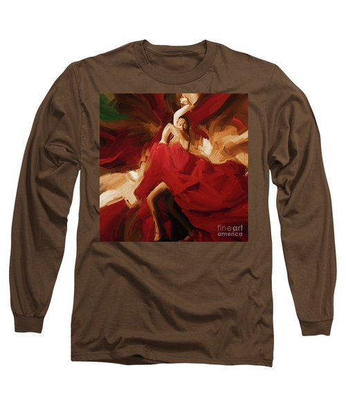 Long Sleeve T-Shirt featuring the painting Flamenco Spanish Dance Painting 01 by Gull G