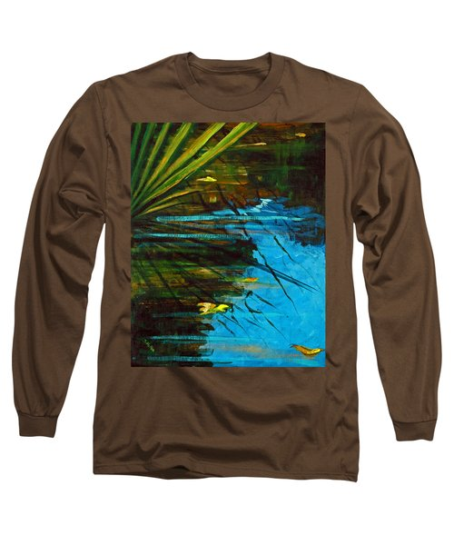 Long Sleeve T-Shirt featuring the painting Floating Gold On Reflected Blue by Suzanne McKee
