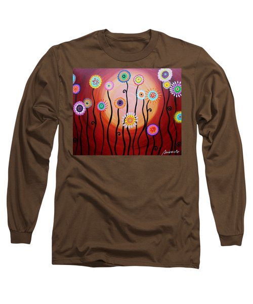 Long Sleeve T-Shirt featuring the painting Flower Fest by Pristine Cartera Turkus