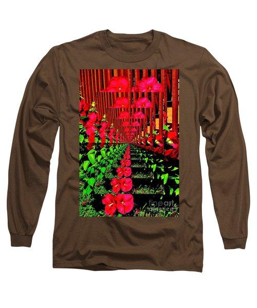 Long Sleeve T-Shirt featuring the digital art Flower Garden Abstract by Marsha Heiken