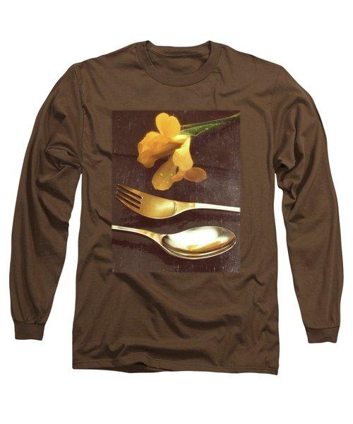 Flowers On Slate Variation 3 Long Sleeve T-Shirt by Jon Delorme