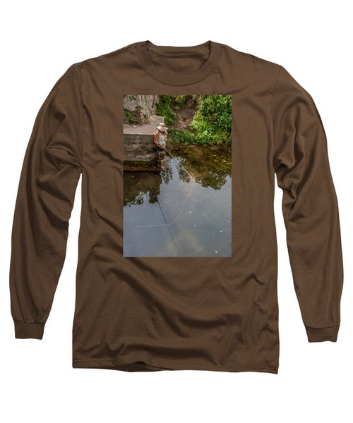 Fly Fisher Gal Long Sleeve T-Shirt by Dan Traun