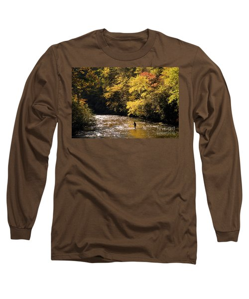 Long Sleeve T-Shirt featuring the photograph Fly Fisherman On The Tellico - D010008 by Daniel Dempster