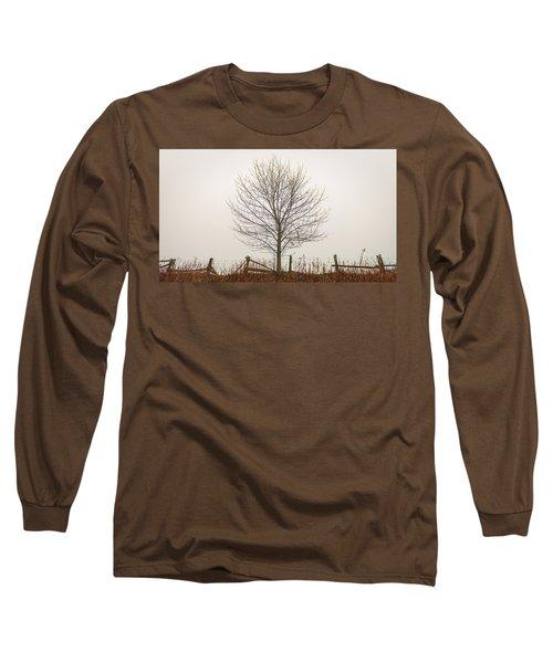 Foggy Lone Tree Hill Long Sleeve T-Shirt