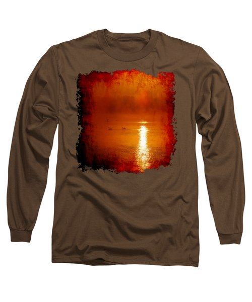 Long Sleeve T-Shirt featuring the photograph Foggy Morning On The River by Nick Kloepping