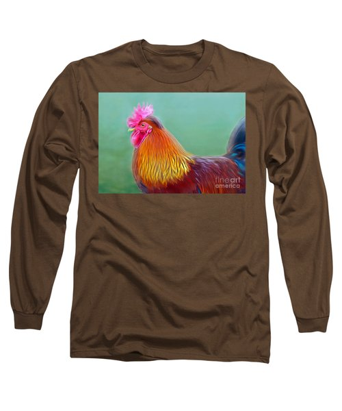 Foggy Morning Rooster Long Sleeve T-Shirt