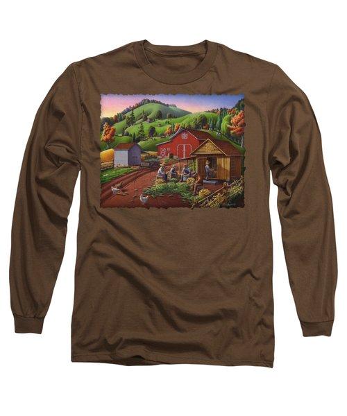 Folk Art Americana - Farmers Shucking Harvesting Corn Farm Landscape - Autumn Rural Country Harvest  Long Sleeve T-Shirt by Walt Curlee