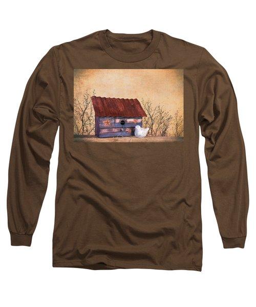 Long Sleeve T-Shirt featuring the photograph Folk Art Birdhouse Still Life by Tom Mc Nemar