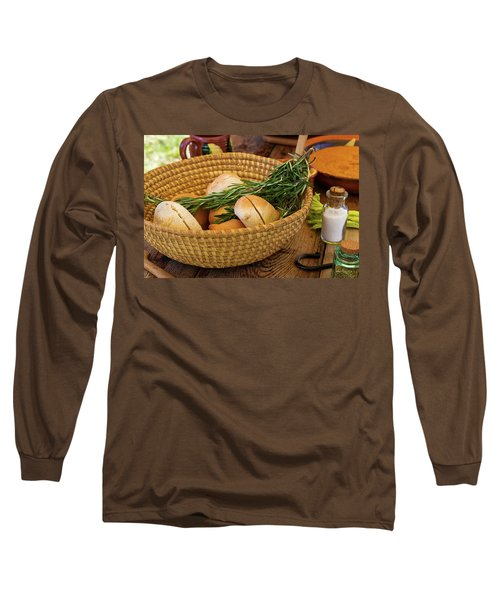 Food - Bread - Rolls And Rosemary Long Sleeve T-Shirt by Mike Savad