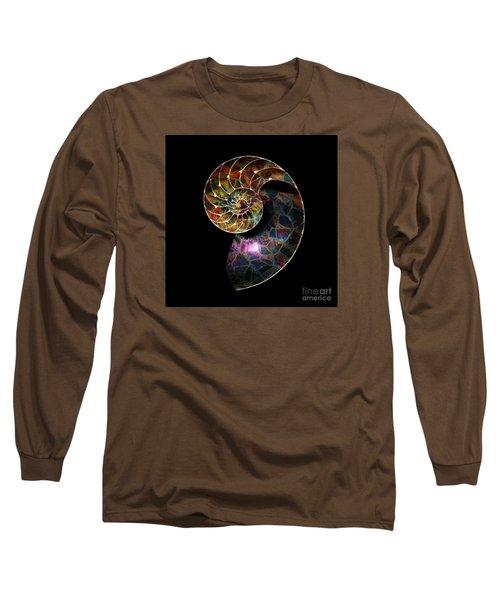 Long Sleeve T-Shirt featuring the digital art Fossilized Nautilus Shell by Klara Acel