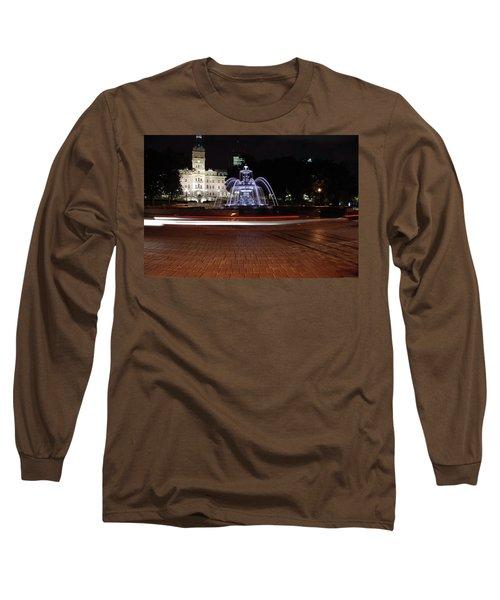 Fountaine De Tourny And Quebec Parliament Long Sleeve T-Shirt by John Schneider