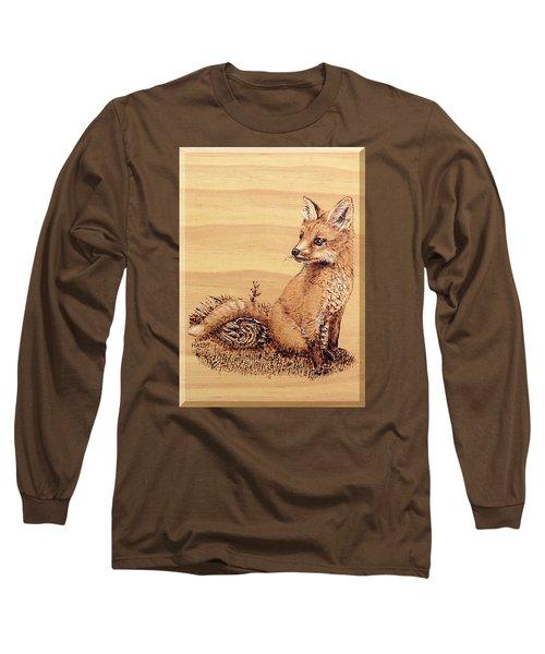 Fox Pup Long Sleeve T-Shirt by Ron Haist