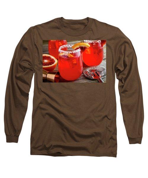 Long Sleeve T-Shirt featuring the photograph Fresh Blood Orange Margaritas by Teri Virbickis