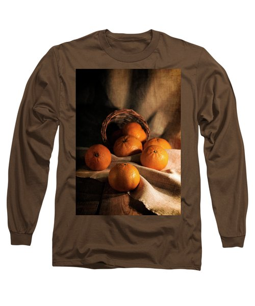 Long Sleeve T-Shirt featuring the photograph Fresh Tangerines In Brown Basket by Jaroslaw Blaminsky