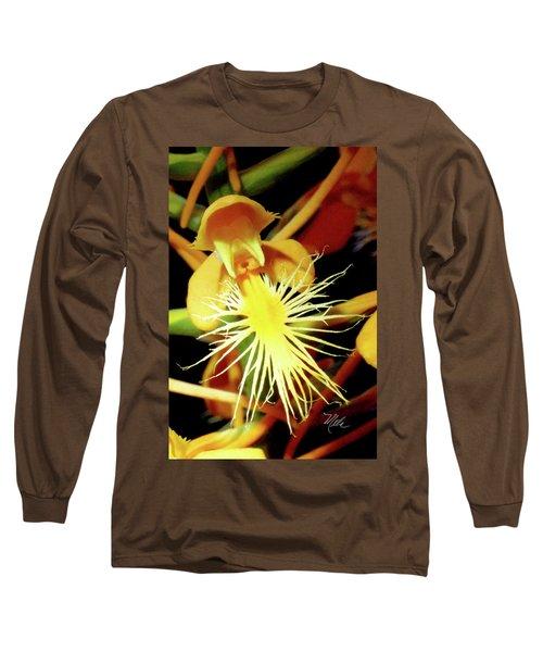 Fringed Yellow Orchid Long Sleeve T-Shirt by Meta Gatschenberger