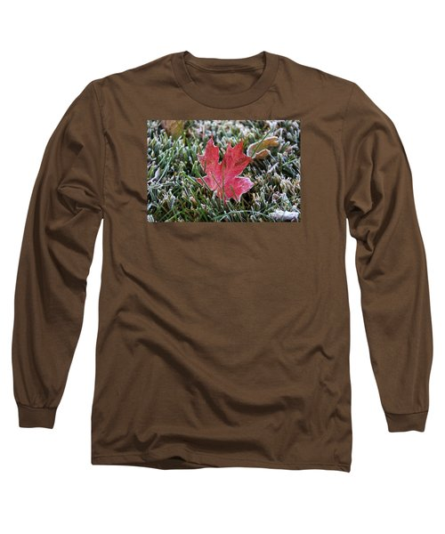 Frosted Maple Leaf  Long Sleeve T-Shirt by Yumi Johnson