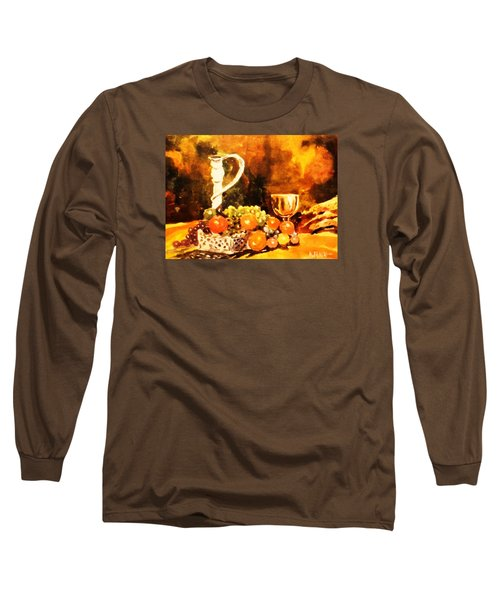 Long Sleeve T-Shirt featuring the painting Fruit, Candelabrum And Goblet by Al Brown