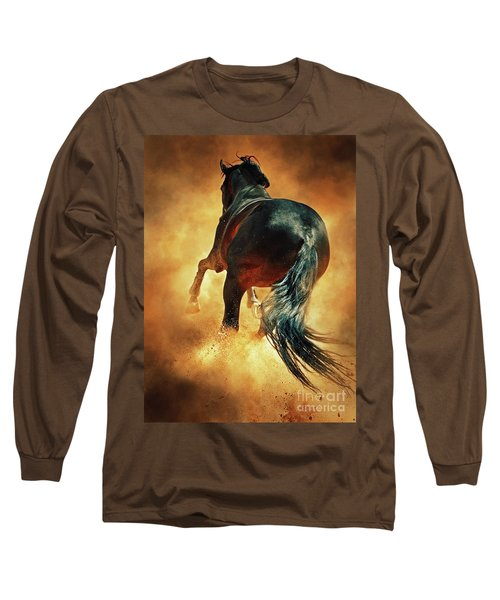 Galloping Horse In Fire Dust Long Sleeve T-Shirt