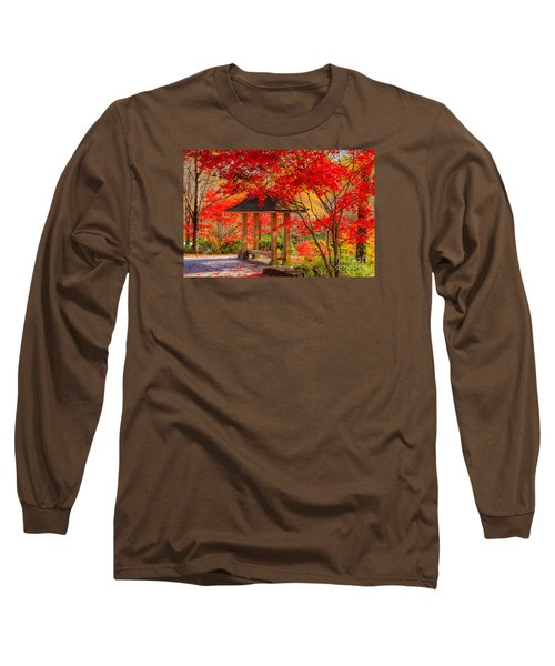 Long Sleeve T-Shirt featuring the photograph Garden Bench by Geraldine DeBoer