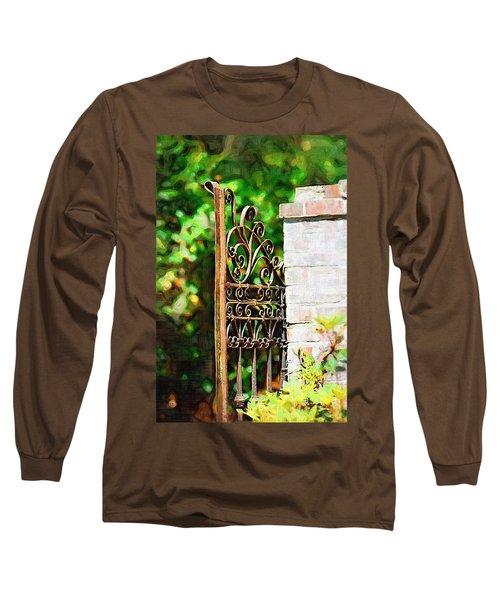 Long Sleeve T-Shirt featuring the photograph Garden Gate by Donna Bentley