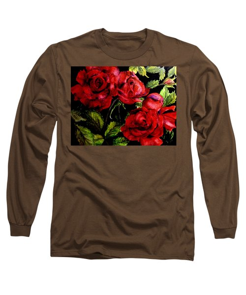 Long Sleeve T-Shirt featuring the painting Garden Roses by Carol Grimes