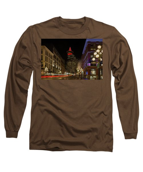 Gastown In Vancouver Bc At Night Long Sleeve T-Shirt