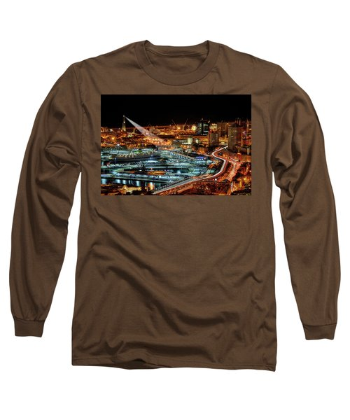 Genoa And The Lighthouse By Night - Genova E La Sua Lanterna  Long Sleeve T-Shirt