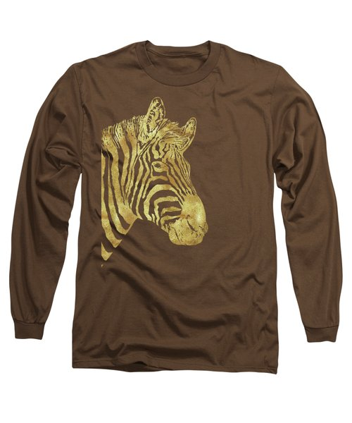 Gilt Zebra, African Wildlife, Wild Animal In Painted Gold Long Sleeve T-Shirt by Tina Lavoie