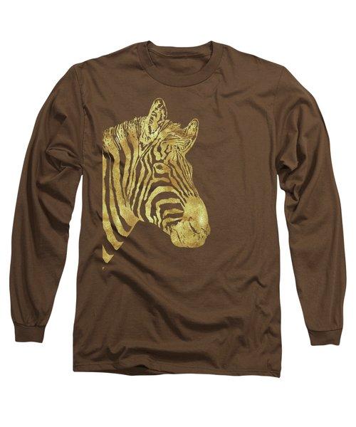Gilt Zebra, African Wildlife, Wild Animal In Painted Gold Long Sleeve T-Shirt